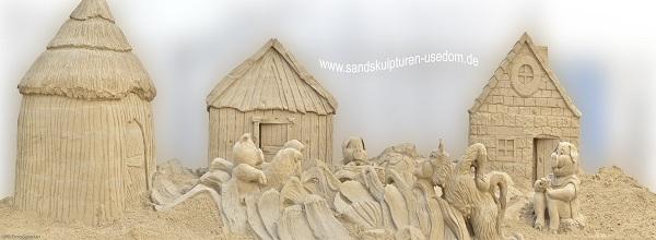 Die drei kleinen Schweinchen © Sandskulpturen Festival Usedom